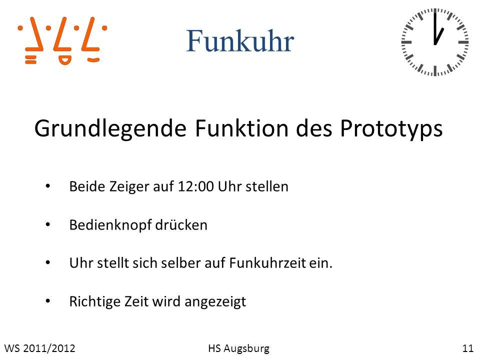 Funkuhr 11WS 2011/2012HS Augsburg Grundlegende Funktion des Prototyps Beide Zeiger auf 12:00 Uhr stellen Bedienknopf drücken Uhr stellt sich selber au
