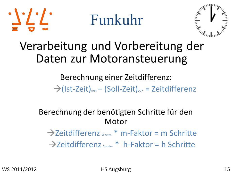 Funkuhr 15WS 2011/2012HS Augsburg Verarbeitung und Vorbereitung der Daten zur Motoransteuerung Berechnung einer Zeitdifferenz: (Ist-Zeit) UHR – (Soll-