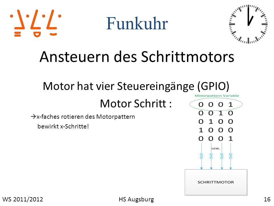 Funkuhr 16WS 2011/2012HS Augsburg Ansteuern des Schrittmotors Motor hat vier Steuereingänge (GPIO) Motor Schritt : x-faches rotieren des Motorpattern