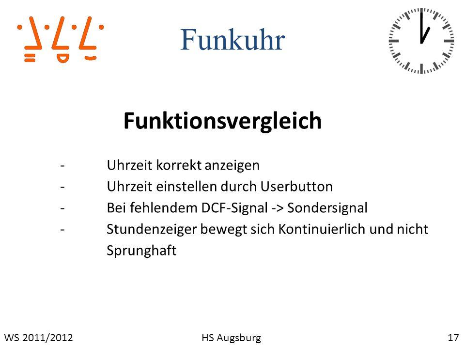 Funkuhr 17WS 2011/2012HS Augsburg Funktionsvergleich -Uhrzeit korrekt anzeigen -Uhrzeit einstellen durch Userbutton -Bei fehlendem DCF-Signal -> Sonde