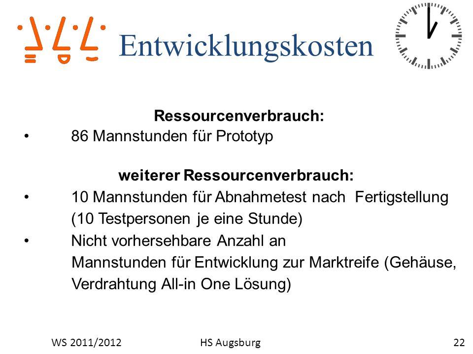 Entwicklungskosten 22WS 2011/2012HS Augsburg Ressourcenverbrauch: 86 Mannstunden für Prototyp weiterer Ressourcenverbrauch: 10 Mannstunden für Abnahme