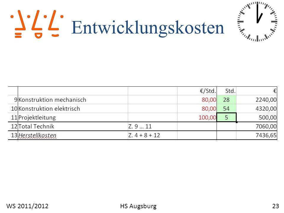 Entwicklungskosten 23WS 2011/2012HS Augsburg