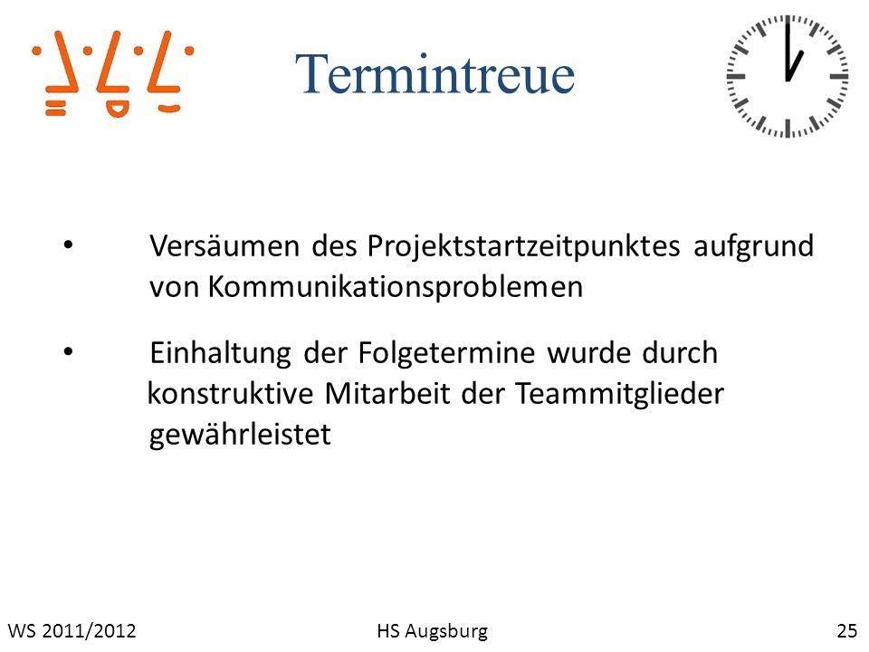 Termintreue 25WS 2011/2012HS Augsburg Versäumen des Projektstartzeitpunktes aufgrund von Kommunikationsproblemen Einhaltung der Folgetermine wurde dur