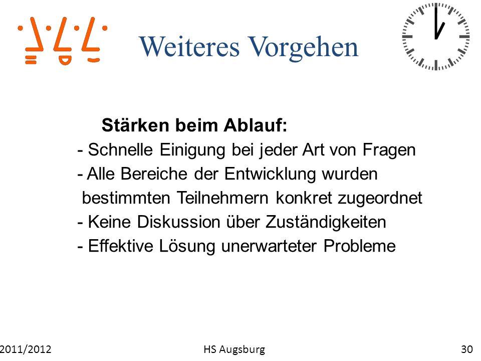 Weiteres Vorgehen 30WS 2011/2012HS Augsburg Stärken beim Ablauf: - Schnelle Einigung bei jeder Art von Fragen - Alle Bereiche der Entwicklung wurden b