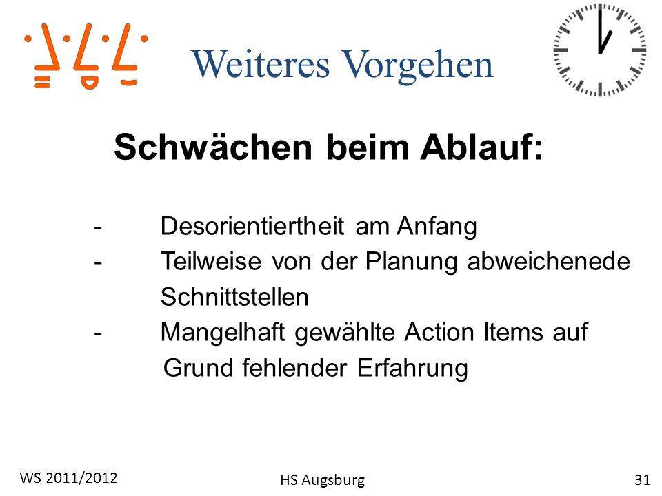 Weiteres Vorgehen 31 WS 2011/2012 HS Augsburg Schwächen beim Ablauf: -Desorientiertheit am Anfang -Teilweise von der Planung abweichenede Schnittstell