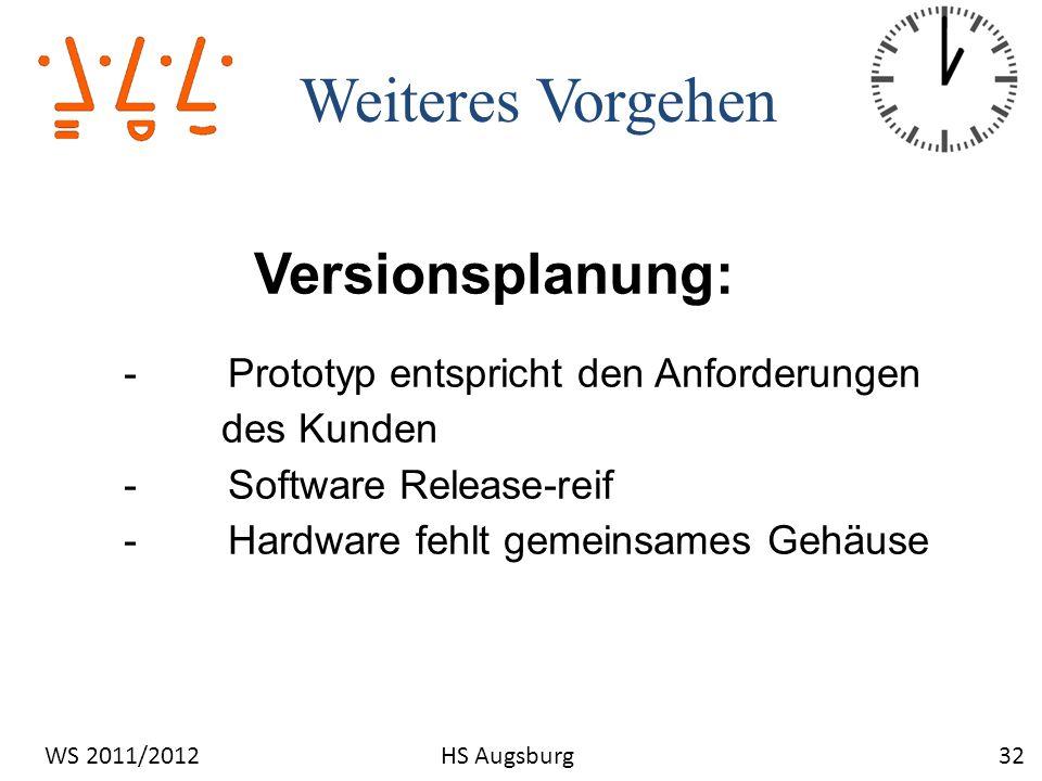 Weiteres Vorgehen 32WS 2011/2012HS Augsburg Versionsplanung: -Prototyp entspricht den Anforderungen des Kunden -Software Release-reif -Hardware fehlt