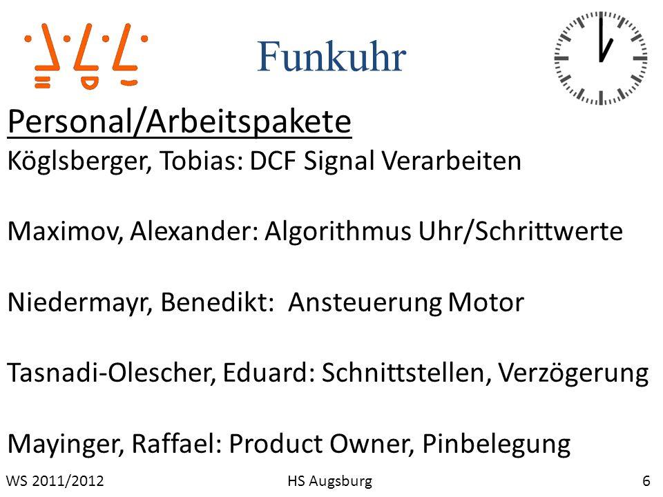 Funkuhr 7WS 2011/2012HS Augsburg Termine Vorgehensschema: Scrum 1 x die Woche persönliches Treffen 2x die Woche virtuelle Kommunikation (e-mail,Skype,ICQ)