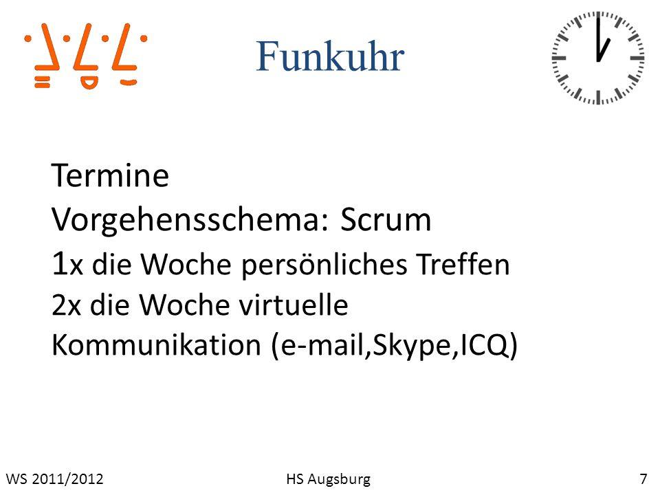 Funkuhr 7WS 2011/2012HS Augsburg Termine Vorgehensschema: Scrum 1 x die Woche persönliches Treffen 2x die Woche virtuelle Kommunikation (e-mail,Skype,