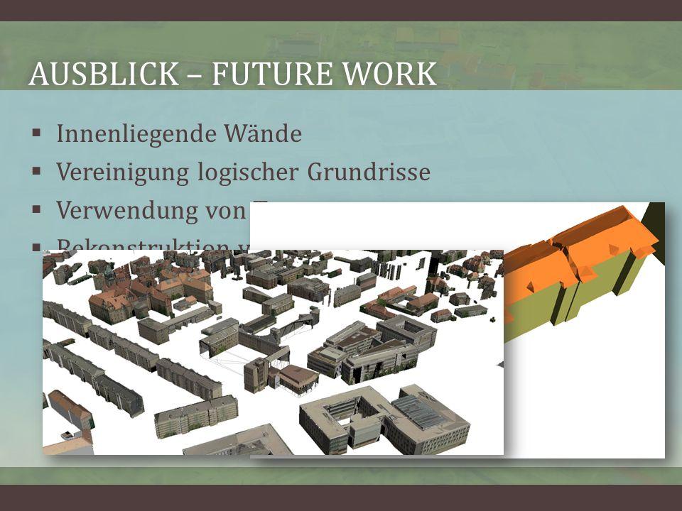 AUSBLICK – FUTURE WORKAUSBLICK – FUTURE WORK Innenliegende Wände Vereinigung logischer Grundrisse Verwendung von Texturen Rekonstruktion von Dachaufbauten