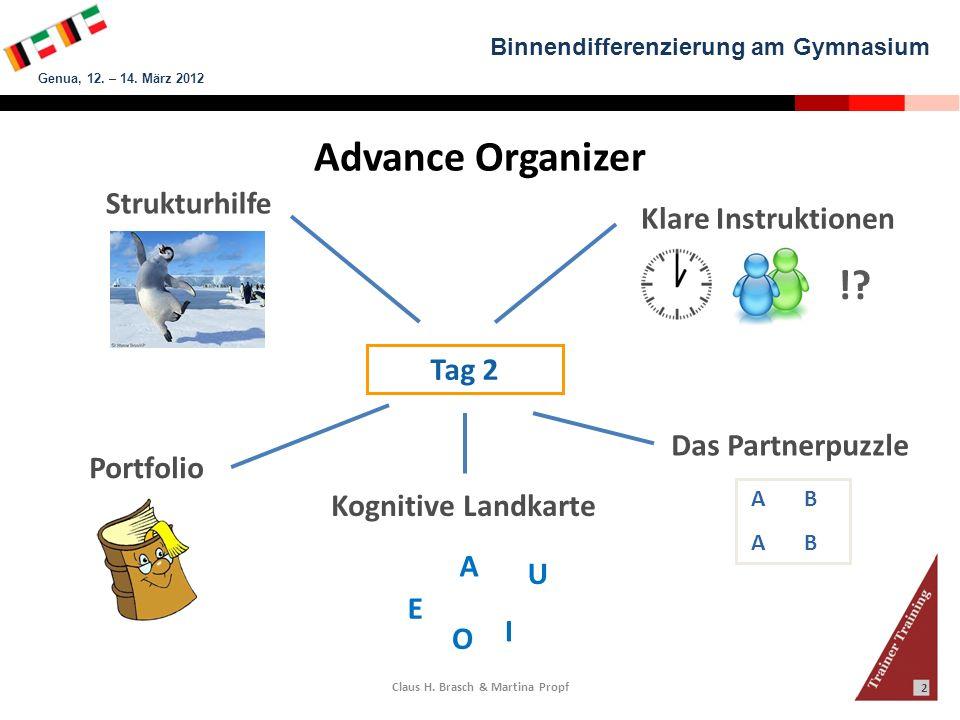 Binnendifferenzierung am Gymnasium Genua, 12. – 14. März 2012 Claus H. Brasch & Martina Propf 2 Advance Organizer Strukturhilfe A B Das Partnerpuzzle