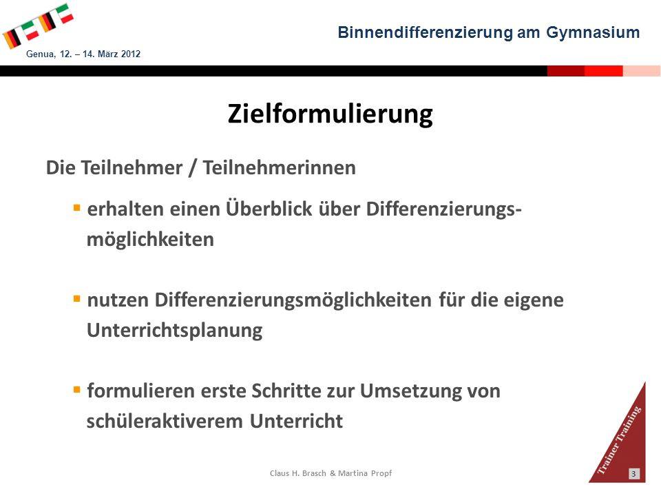 Binnendifferenzierung am Gymnasium Genua, 12.– 14.