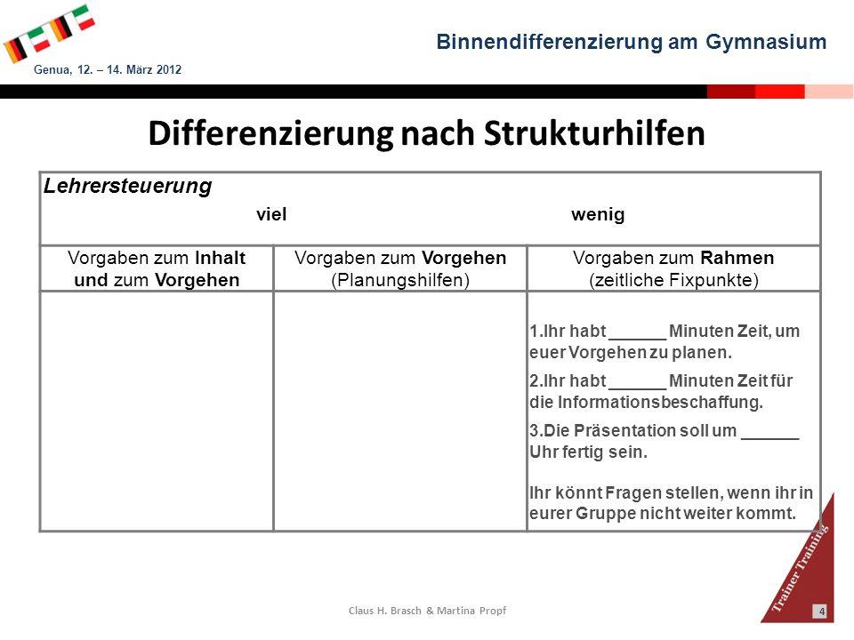 Binnendifferenzierung am Gymnasium Genua, 12. – 14. März 2012 Claus H. Brasch & Martina Propf 4 Lehrersteuerung viel wenig Vorgaben zum Inhalt und zum