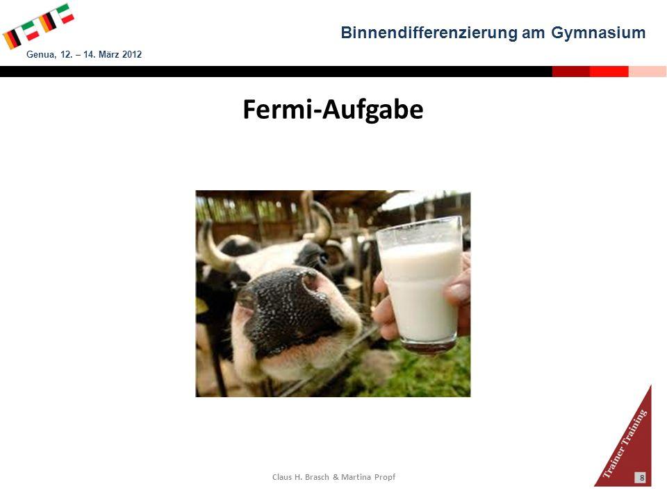 Binnendifferenzierung am Gymnasium Genua, 12. – 14. März 2012 Claus H. Brasch & Martina Propf 8 Fermi-Aufgabe