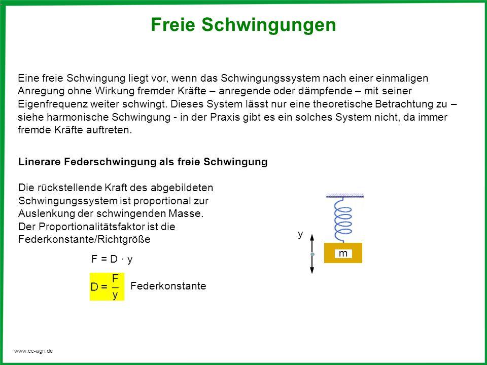 www.cc-agri.de Eine freie Schwingung liegt vor, wenn das Schwingungssystem nach einer einmaligen Anregung ohne Wirkung fremder Kräfte – anregende oder
