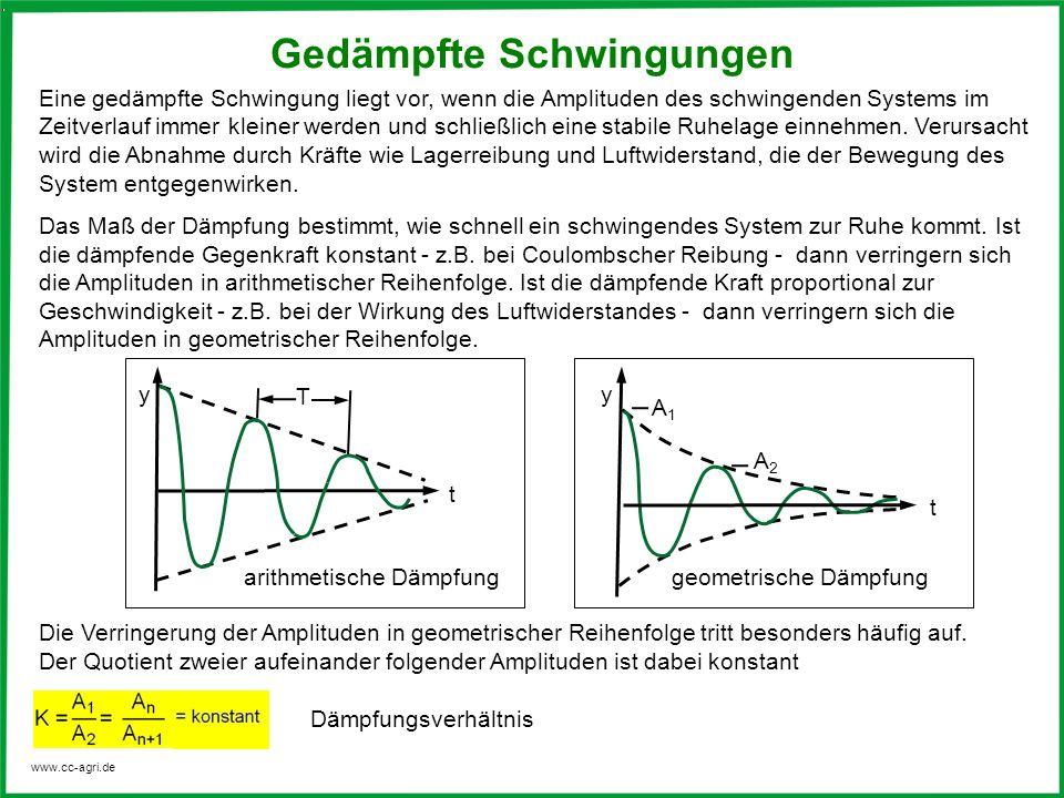 www.cc-agri.de Eine gedämpfte Schwingung liegt vor, wenn die Amplituden des schwingenden Systems im Zeitverlauf immer kleiner werden und schließlich e