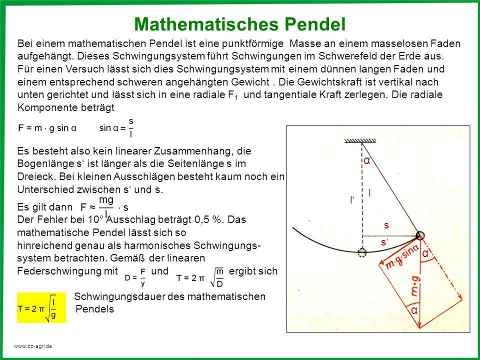 www.cc-agri.de Bei einem mathematischen Pendel ist eine punktförmige Masse an einem masselosen Faden aufgehängt. Dieses Schwingungsystem führt Schwing