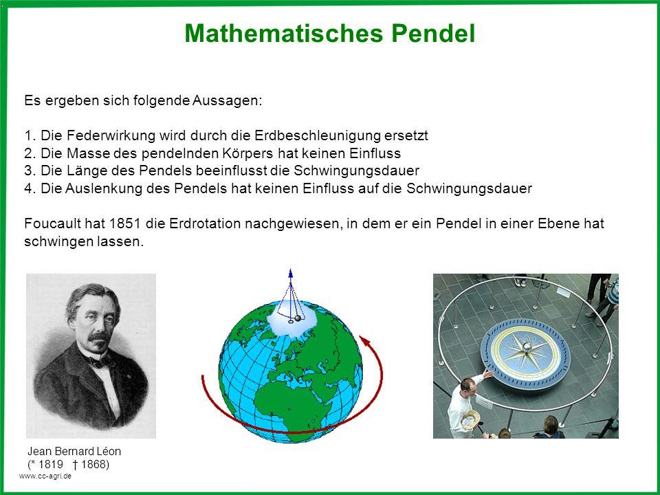 www.cc-agri.de Mathematisches Pendel Es ergeben sich folgende Aussagen: 1. Die Federwirkung wird durch die Erdbeschleunigung ersetzt 2. Die Masse des