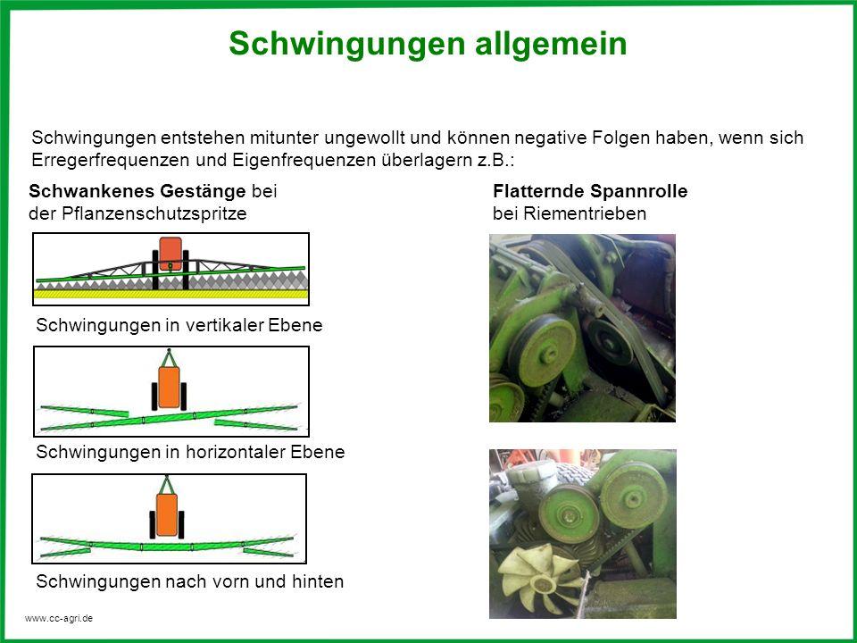 www.cc-agri.de Schwingungen entstehen mitunter ungewollt und können negative Folgen haben, wenn sich Erregerfrequenzen und Eigenfrequenzen überlagern