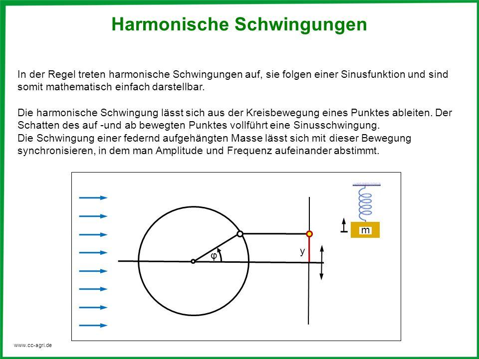 www.cc-agri.de Folgende Angaben charakterisieren eine harmonische Schwingung: Frequenz Schwingungsdauer Amplitude s max, y max Auslenkung / Elongation s,y Kreisfrequenz = 2 π · f Phasenwinkel Anzahl der Schwingungen pro Sekunde Zeitdauer für eine Hin –und Herbewegung größte Entfernung aus der Ruhelage augenblickliche Entfernung aus der Ruhelage Winkelgeschwindigkeit des rotierenden Punktes, umlaufender Winkel in Bogenmaß Harmonische Schwingungen Weg – Zeit – Funktion der harmonischen Schwingung