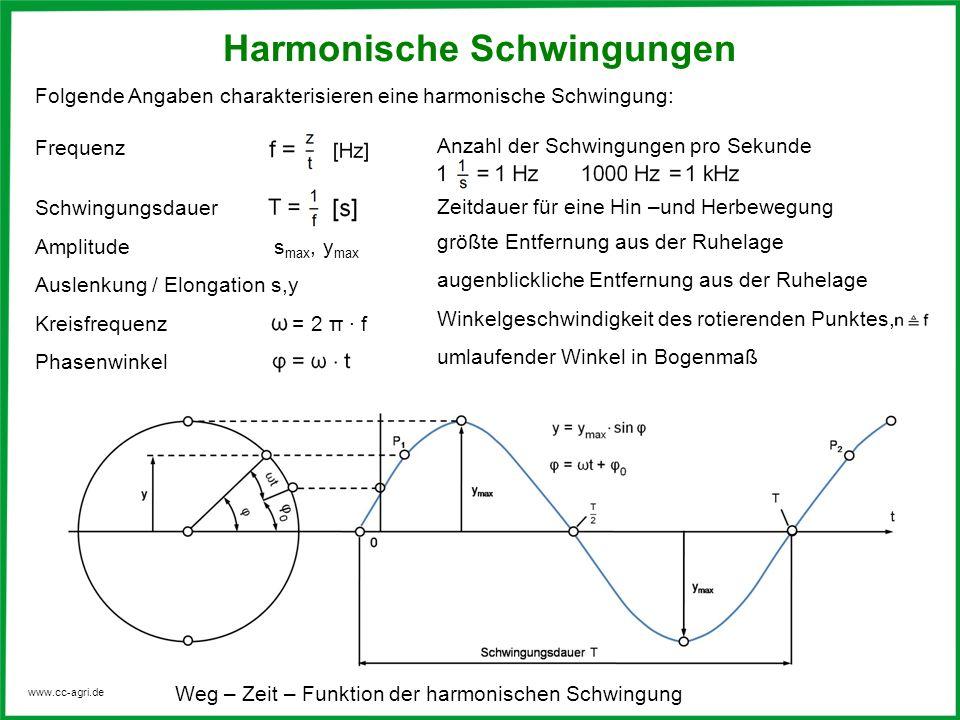 www.cc-agri.de Legt man den Beginn der Zeitachse mit dem Augenblick zusammen, in dem der schwingende Körper die Ruhelage durchläuft, dann gilt: s = s max · sin t Funktion der harmonischen Schwingung Bei einer harmonischen Schwingung wiederholen sich die Ausschläge in regelmäßigen Abständen, sie befinden sich dann in gleicher Phase.