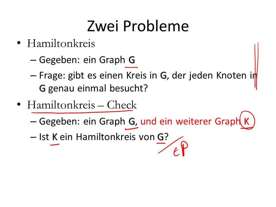 Zwei Probleme Hamiltonkreis G – Gegeben: ein Graph G G G – Frage: gibt es einen Kreis in G, der jeden Knoten in G genau einmal besucht? Hamiltonkreis