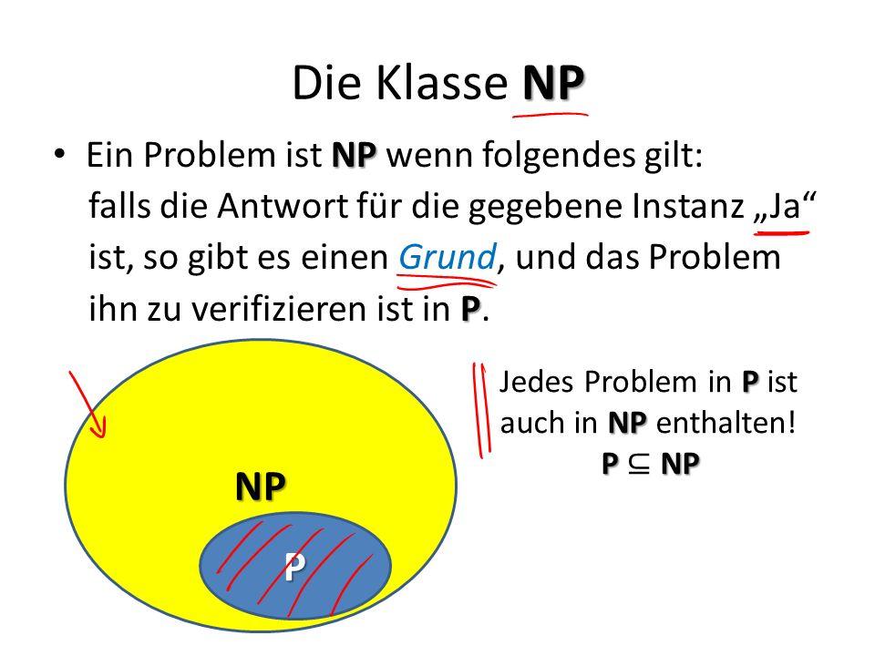NP Die Klasse NP NP Ein Problem ist NP wenn folgendes gilt: falls die Antwort für die gegebene Instanz Ja ist, so gibt es einen Grund, und das Problem