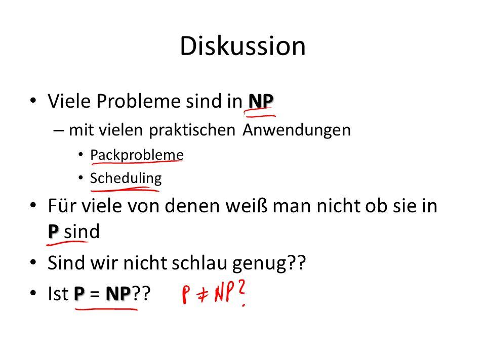 Diskussion NP Viele Probleme sind in NP – mit vielen praktischen Anwendungen Packprobleme Scheduling P Für viele von denen weiß man nicht ob sie in P