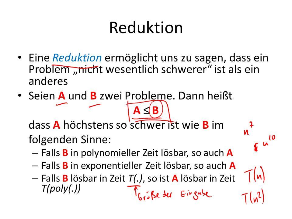 Reduktion Eine Reduktion ermöglicht uns zu sagen, dass ein Problem nicht wesentlich schwerer ist als ein anderes Seien A und B zwei Probleme. Dann hei