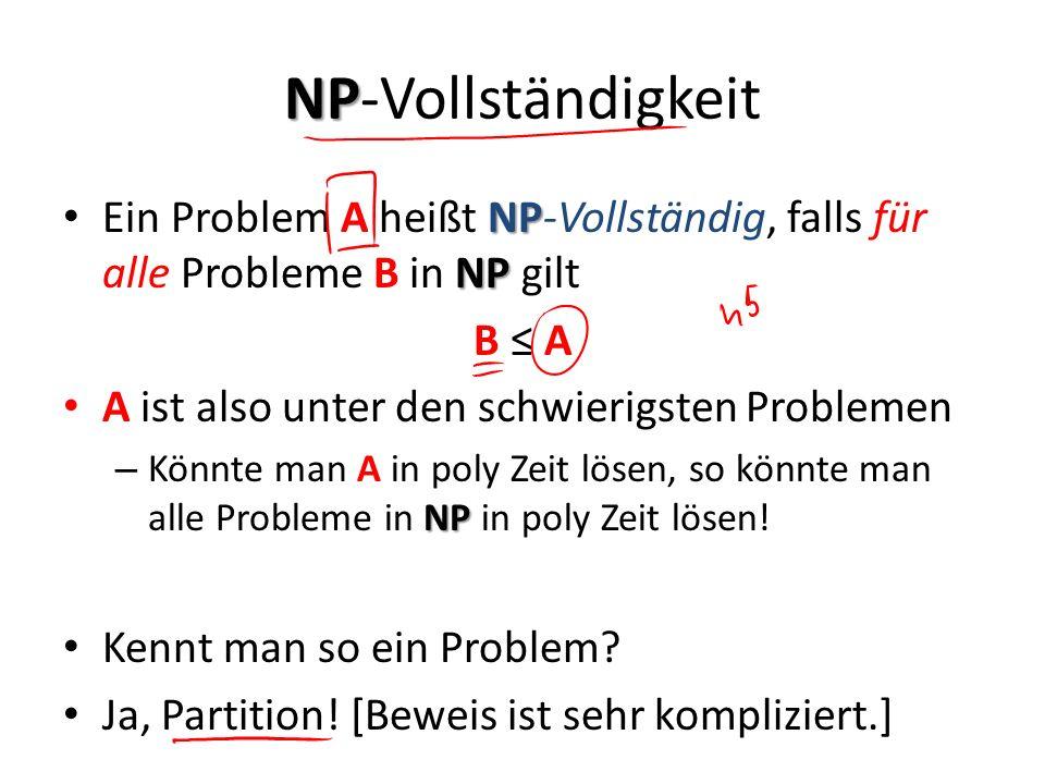 NP NP-Vollständigkeit NP NP Ein Problem A heißt NP-Vollständig, falls für alle Probleme B in NP gilt B A A ist also unter den schwierigsten Problemen