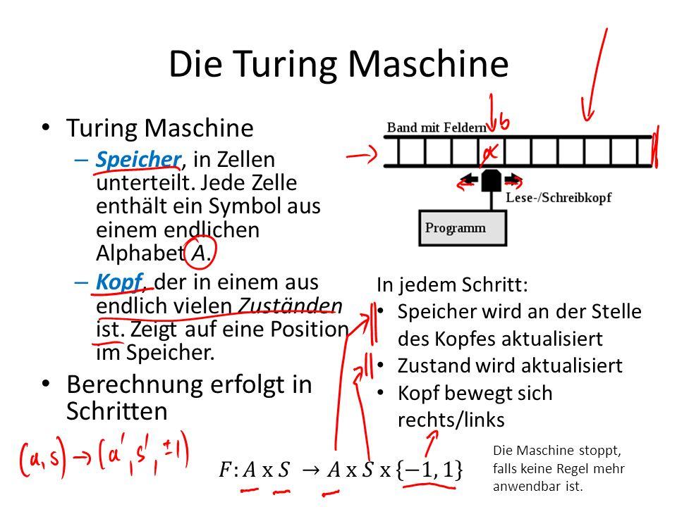 Die Turing Maschine Turing Maschine – Speicher, in Zellen unterteilt. Jede Zelle enthält ein Symbol aus einem endlichen Alphabet A. – Kopf, der in ein