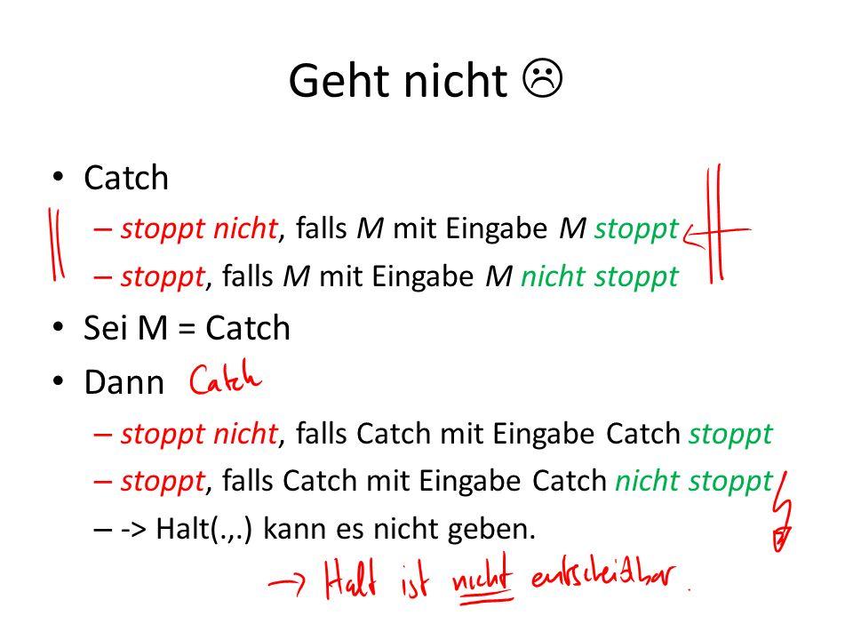 Geht nicht Catch – stoppt nicht, falls M mit Eingabe M stoppt – stoppt, falls M mit Eingabe M nicht stoppt Sei M = Catch Dann – stoppt nicht, falls Ca
