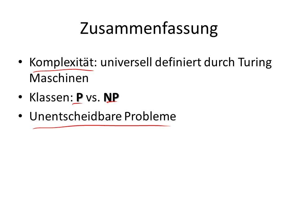 Zusammenfassung Komplexität: universell definiert durch Turing Maschinen PNP Klassen: P vs. NP Unentscheidbare Probleme