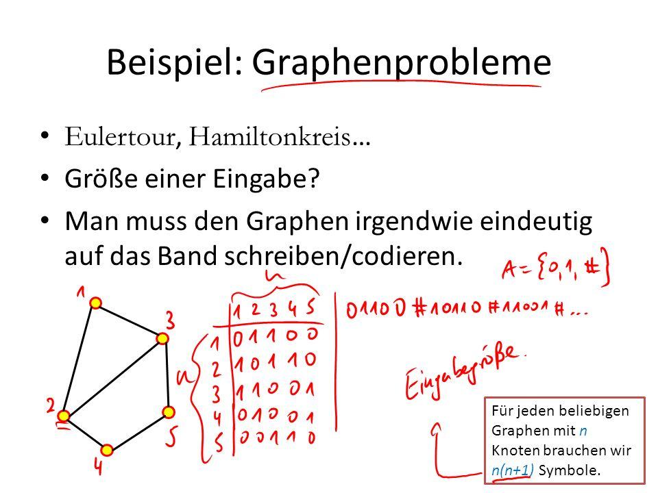 Beispiel: Graphenprobleme Eulertour, Hamiltonkreis … Größe einer Eingabe? Man muss den Graphen irgendwie eindeutig auf das Band schreiben/codieren. Fü