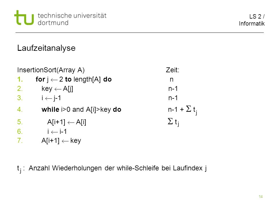 LS 2 / Informatik 14 InsertionSort(Array A) Zeit: 1.for j 2 to length[A] do n 2.