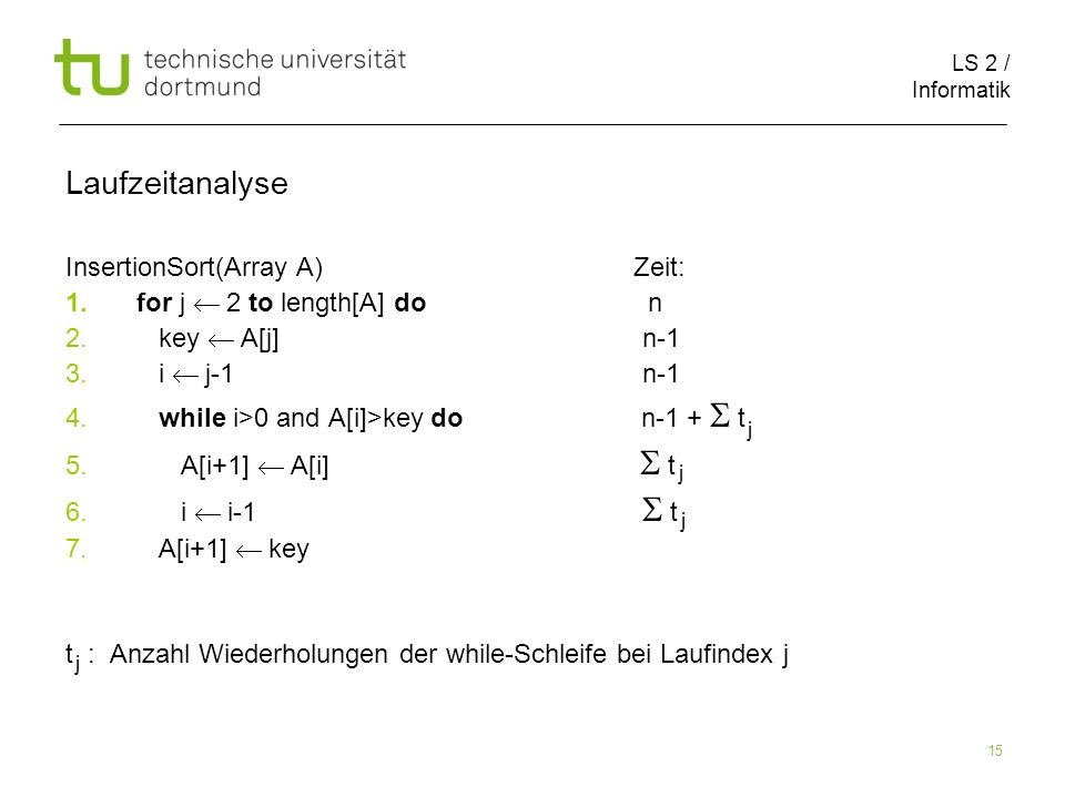 LS 2 / Informatik 15 InsertionSort(Array A) Zeit: 1.for j 2 to length[A] do n 2.