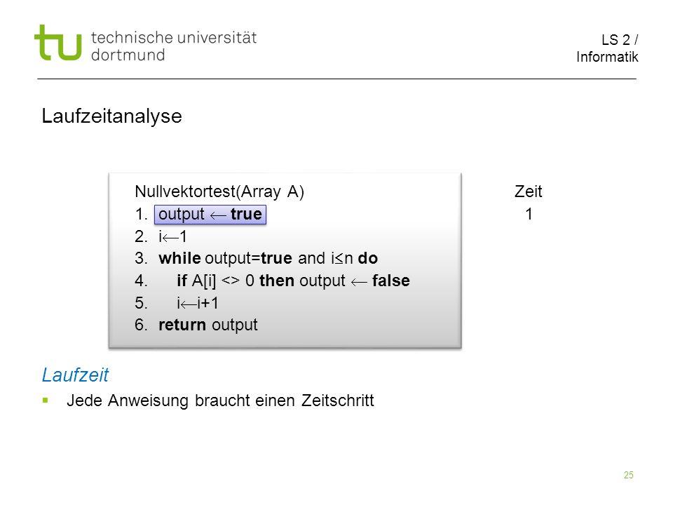 LS 2 / Informatik 25 Nullvektortest(Array A) Zeit 1.
