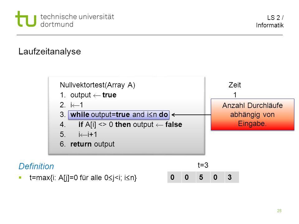 LS 2 / Informatik 28 Nullvektortest(Array A) Zeit 1.