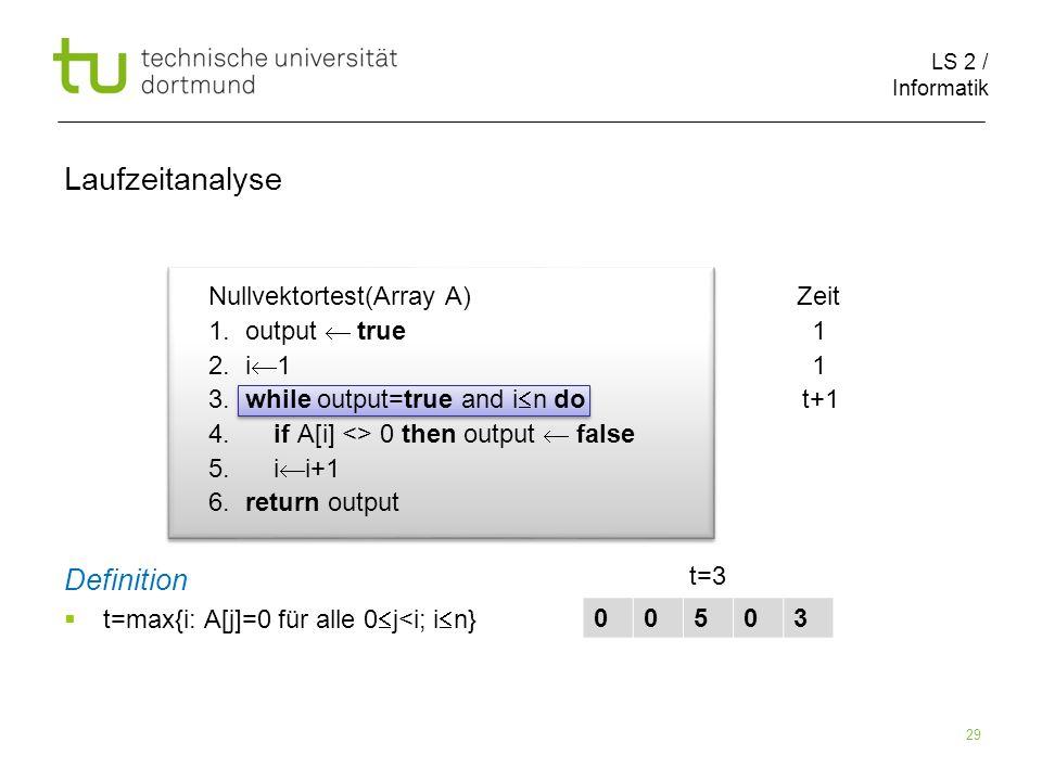 LS 2 / Informatik 29 Nullvektortest(Array A) Zeit 1.