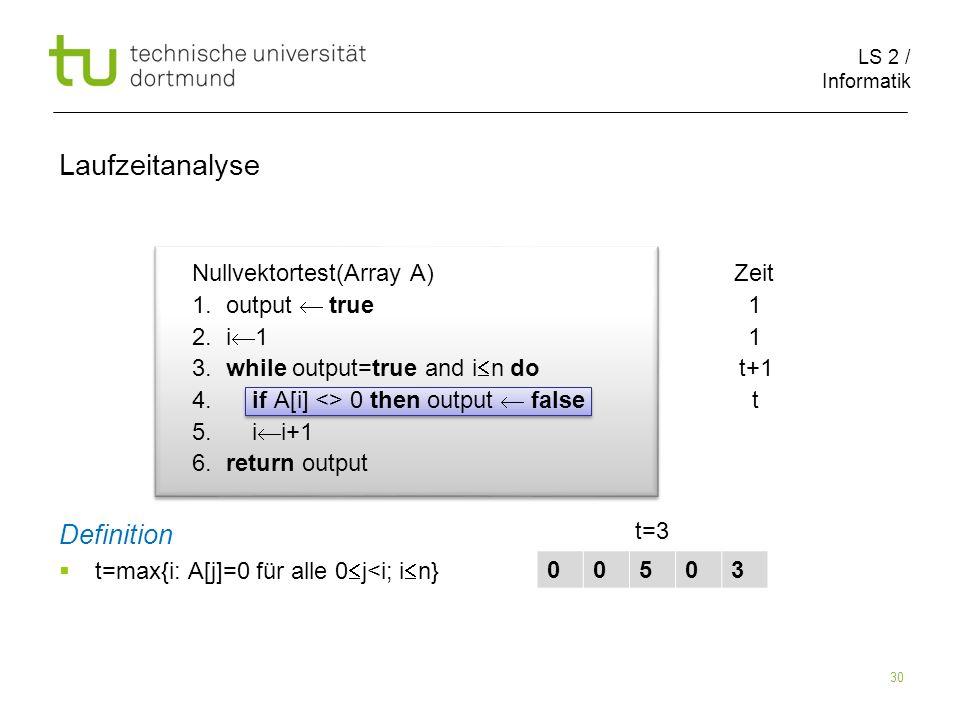 LS 2 / Informatik 30 Nullvektortest(Array A) Zeit 1.