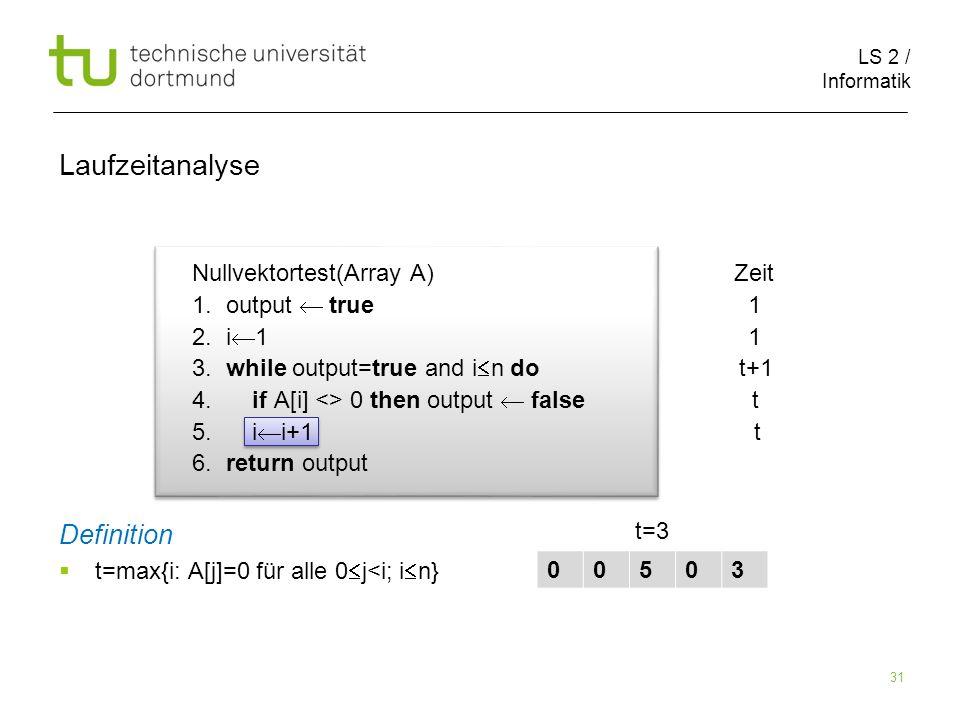 LS 2 / Informatik 31 Nullvektortest(Array A) Zeit 1.