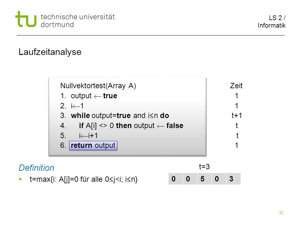 LS 2 / Informatik 32 Nullvektortest(Array A) Zeit 1.