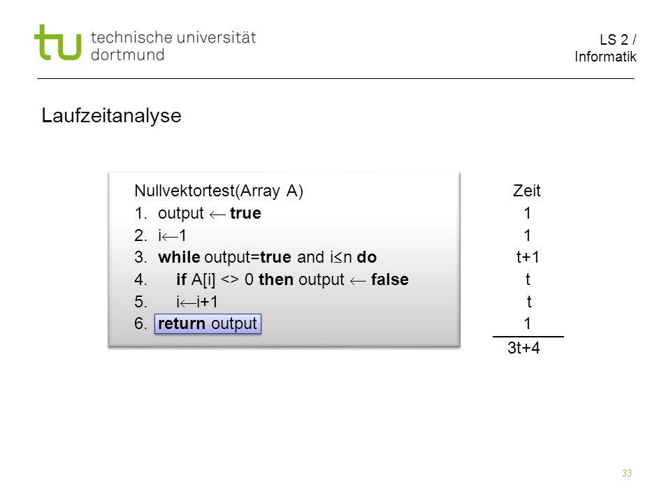 LS 2 / Informatik 33 Nullvektortest(Array A) Zeit 1.