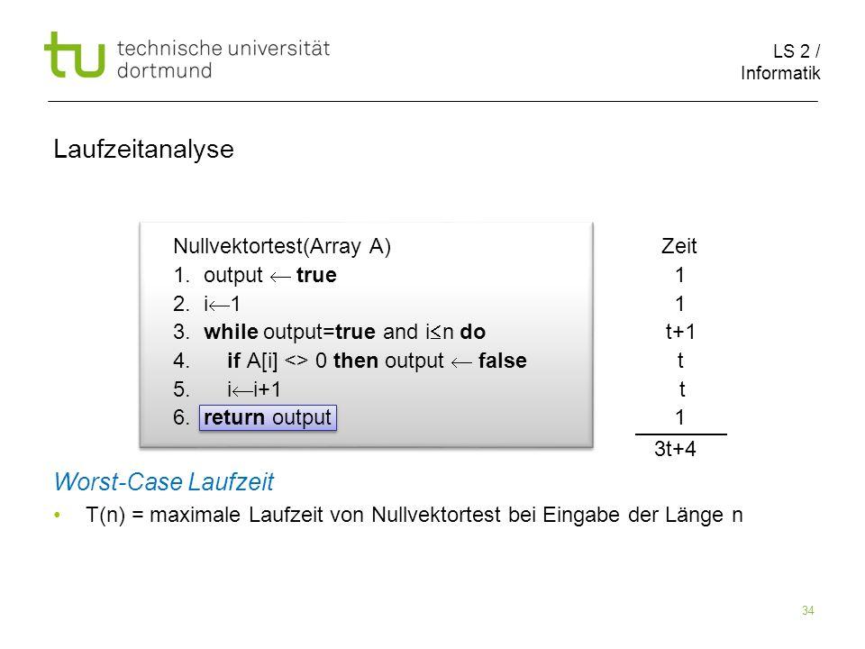 LS 2 / Informatik 34 Nullvektortest(Array A) Zeit 1.