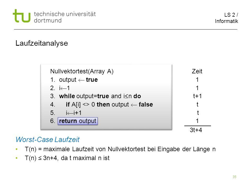 LS 2 / Informatik 35 Nullvektortest(Array A) Zeit 1.