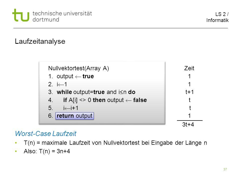 LS 2 / Informatik 37 Nullvektortest(Array A) Zeit 1.