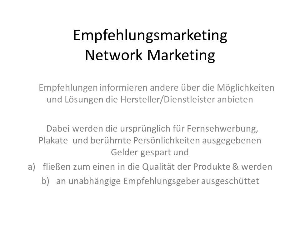 Empfehlungsmarketing Network Marketing Empfehlungen informieren andere über die Möglichkeiten und Lösungen die Hersteller/Dienstleister anbieten Dabei