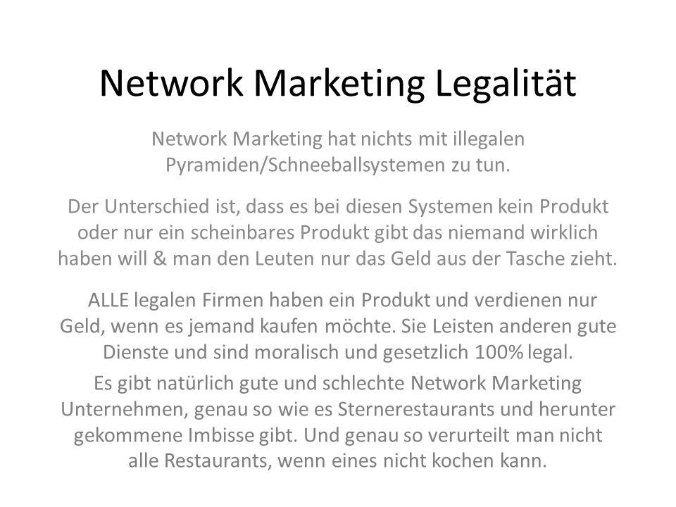 Network Marketing Legalität Network Marketing hat nichts mit illegalen Pyramiden/Schneeballsystemen zu tun. Der Unterschied ist, dass es bei diesen Sy