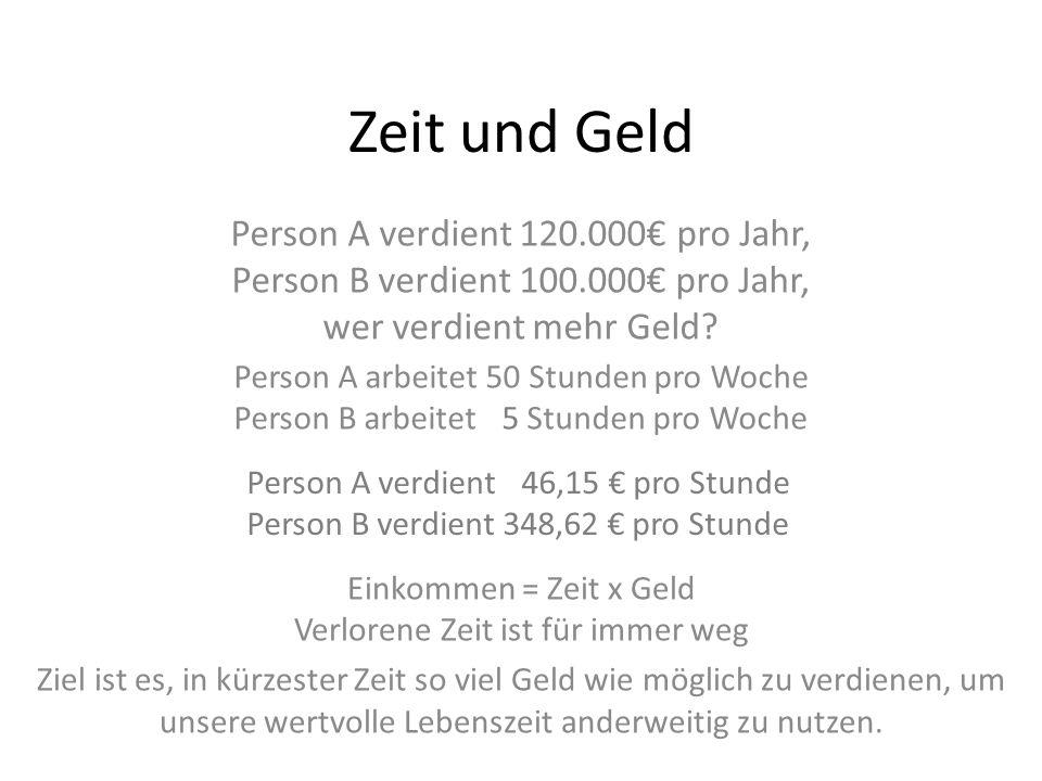 Zeit und Geld Person A verdient 120.000 pro Jahr, Person B verdient 100.000 pro Jahr, wer verdient mehr Geld? Person A verdient 046,15 pro Stunde Pers
