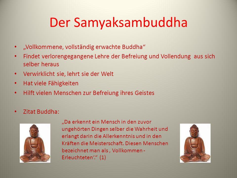 Der Samyaksambuddha Vollkommene, vollständig erwachte Buddha Findet verlorengegangene Lehre der Befreiung und Vollendung aus sich selber heraus Verwir