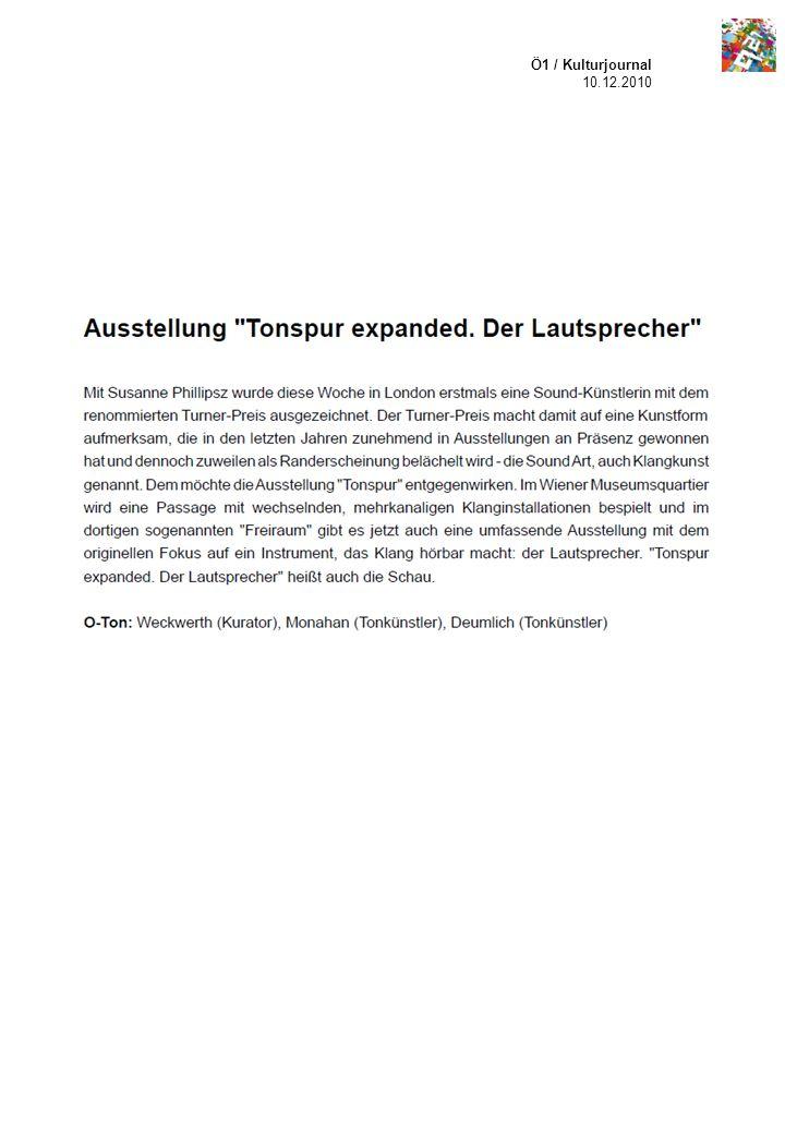Ö1 / Kulturjournal 10.12.2010